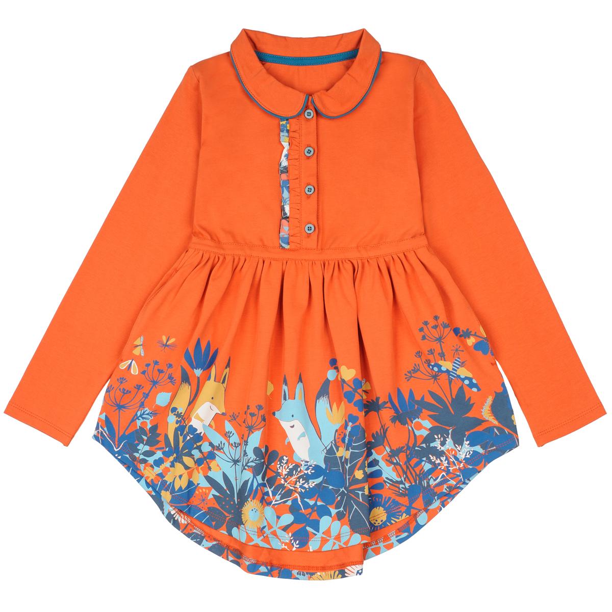Платье KogankidsЯркое платье для девочки с длинными рукавами и воротничком. Удлиненная сзади юбка со складками, боковыми карманами и цветочным принтом. Отлично подойдет для праздников и на каждый день.<br>Размер: 104, 110, 116, 122, 128, 134, 140, 80, 86, 92, 98; Цвет: Терракотовый;