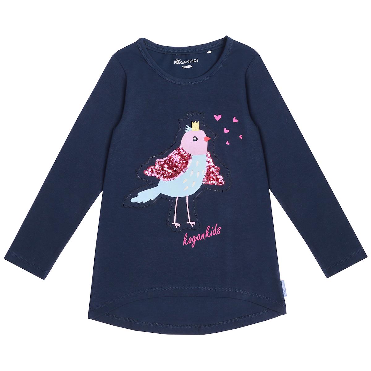 Темно-синий джемпер для девочки с птицей