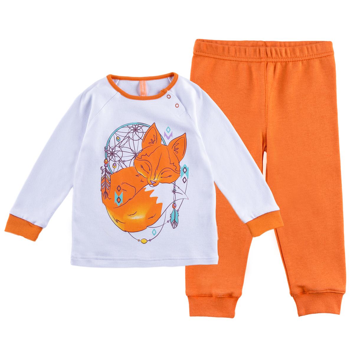 Пижама KogankidsПижама обеспечит максимальный комфорт во время сна. Ее также можно использовать и как домашнюю одежду.<br>Размер: 80, 86, 92, 98; Цвет: Белый;