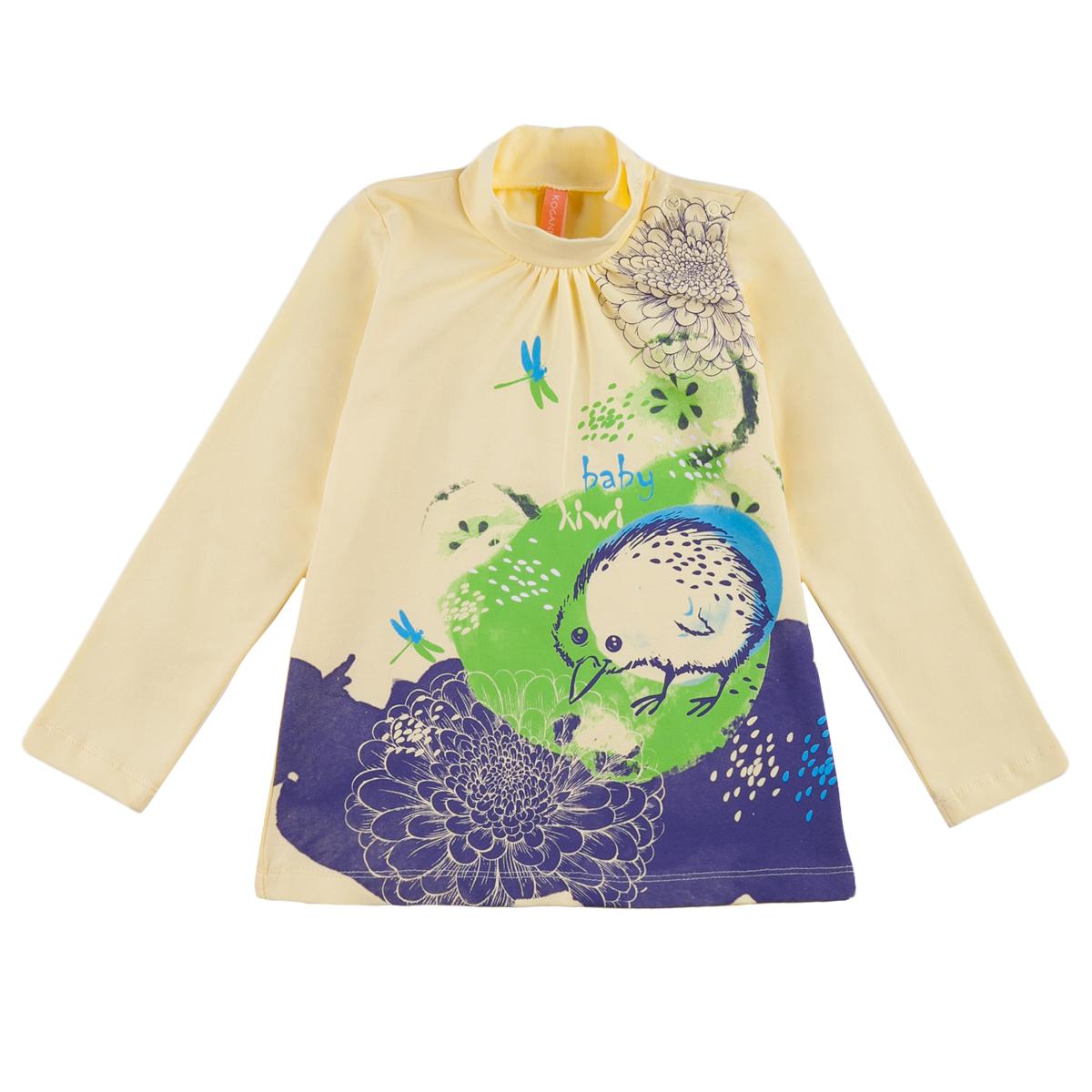 Водолазка KogankidsЯркая водолазка с забавным принтом отлично дополнит гардероб маленькой модницы. Сочетайте с джинсами, однотонными леггинсами или юбками.<br>Размер: 80, 86, 92, 98; Цвет: Жёлтый;
