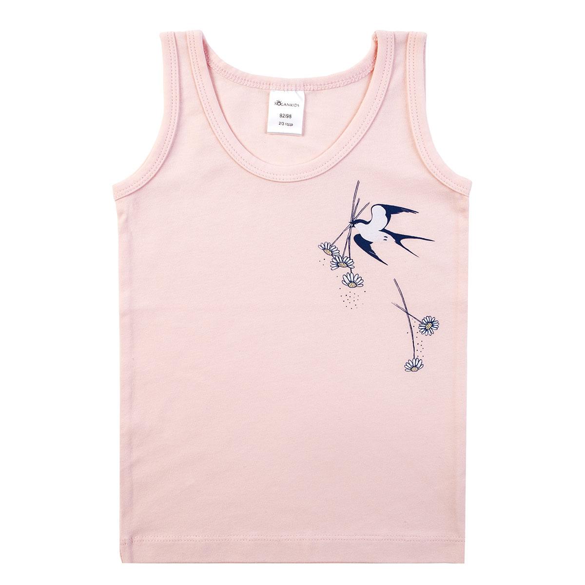 Розовая майка для девочки с принтом