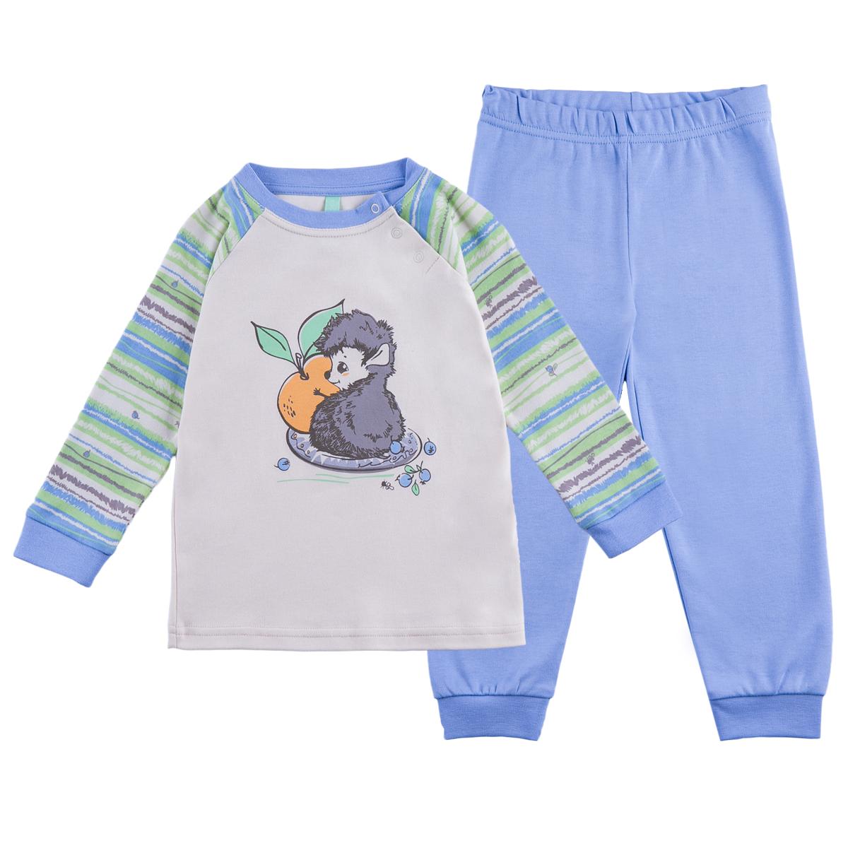 Пижама KogankidsПижама из натурального хлопка обеспечивает максимальный комфорт. Ее можно носить и как домашнюю одежду.<br>Размер: 80, 86, 92, 98; Цвет: Жёлтый;