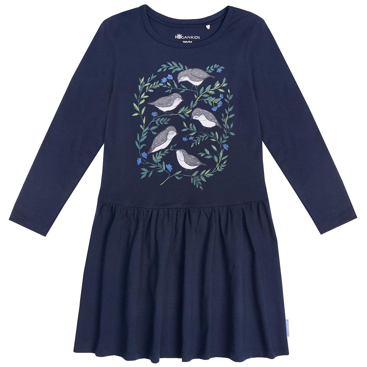 Тёмно-синее платье для девочки с птицами