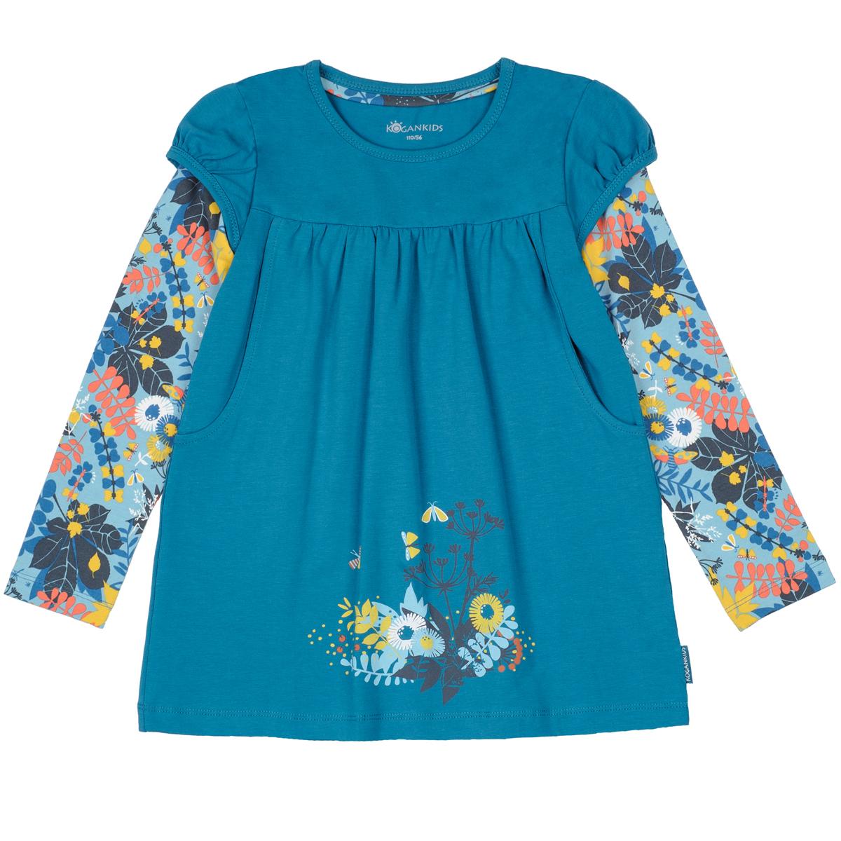 Джемпер KogankidsУдлиненный джемпер для девочки с контрастными рукавами. Рукава-фонарик, милый принт, боковые карманы. Можно носить с леггинсами или как платье. Для маленьких размеров 80-98 предусмотрена плечевая застежка на кнопки для удобства одевания.<br>Размер: 104, 110, 116, 122, 128, 134, 140, 80, 86, 92, 98; Цвет: Синий;