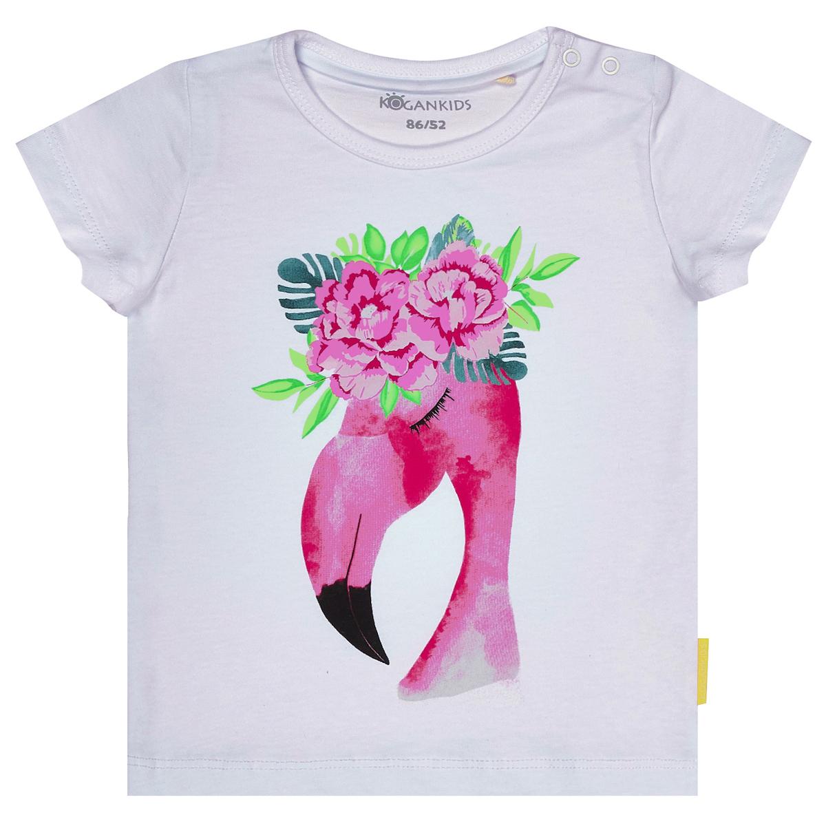 Белая футболка для девочки с фламинго
