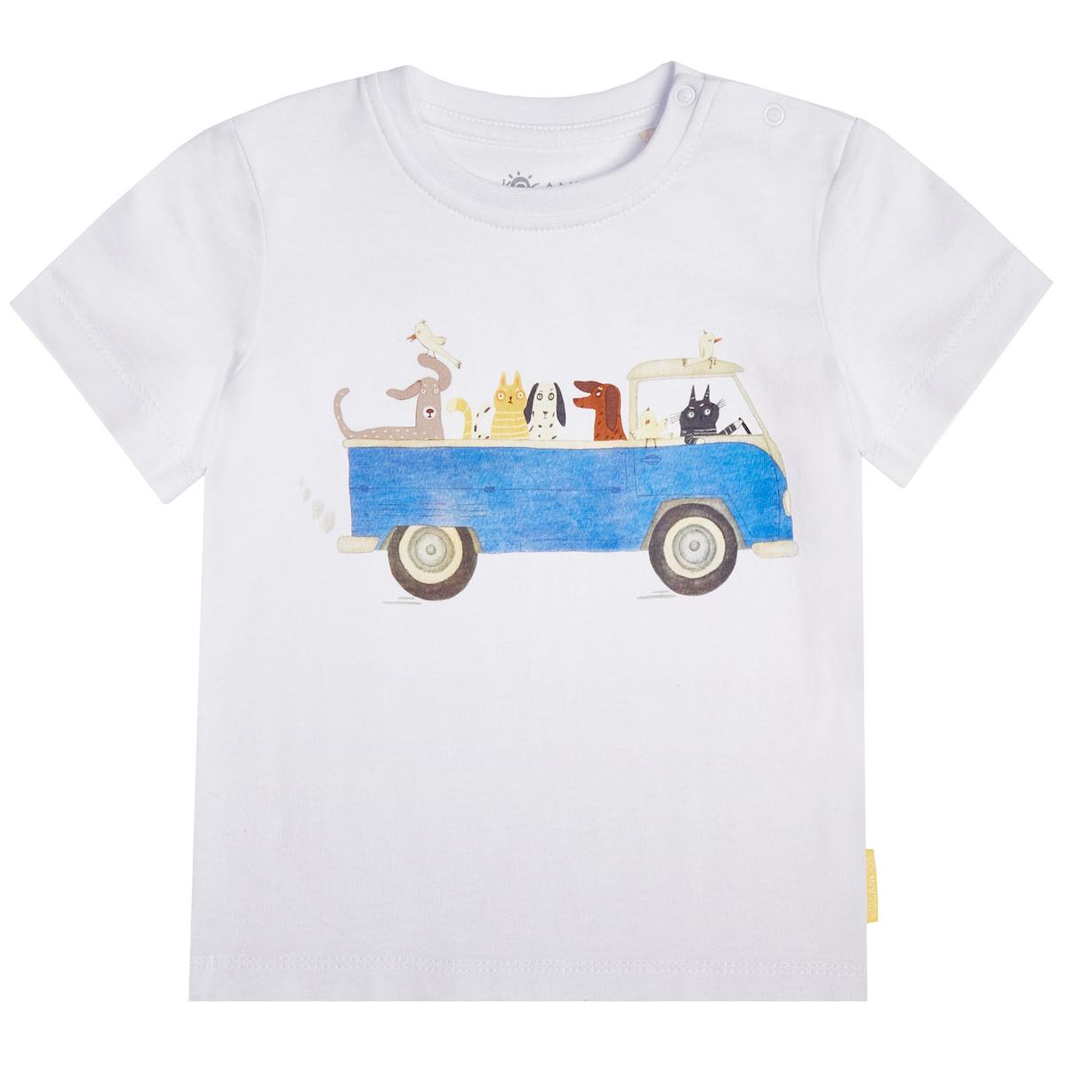 Белая футболка для мальчика с принтом